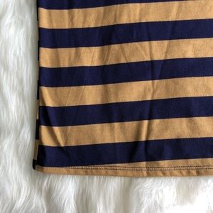 LuLaRoe Tops - Lularoe • Perfect Tee Navy/Tan Striped
